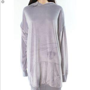 NWT Solutions! Fashion longline velour hoodie sz M
